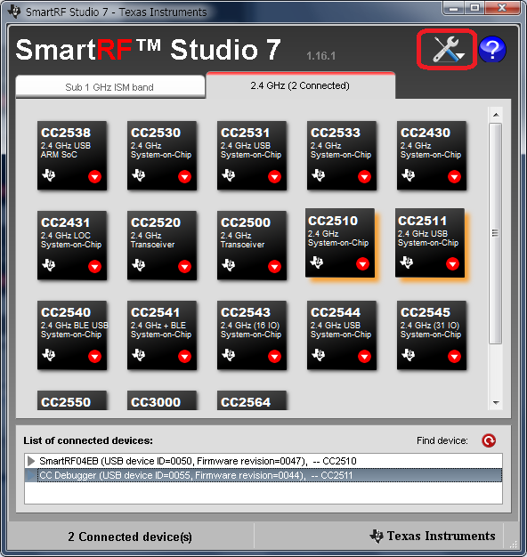 cc2511 SmartRF Studio