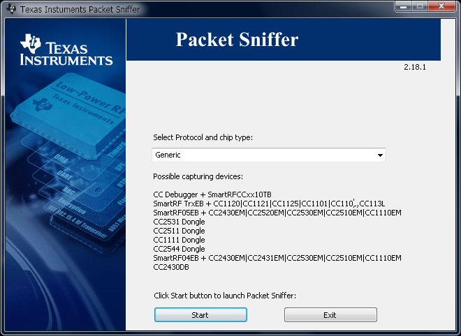 cc2511 Packet Sniffer Start