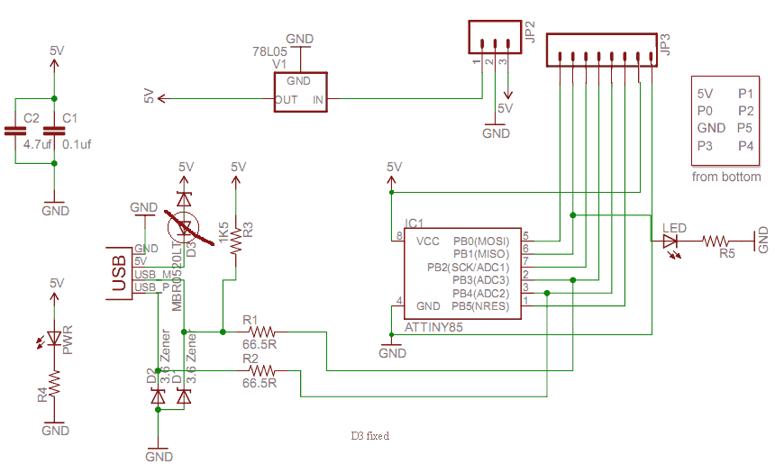 ATTiny45 Digispark Schematics Fixed